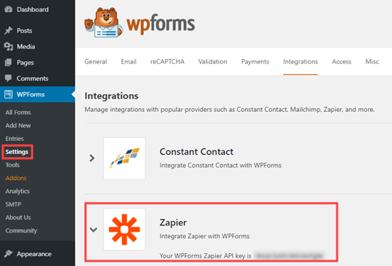 Get your API key from WPForms to use with Zapier