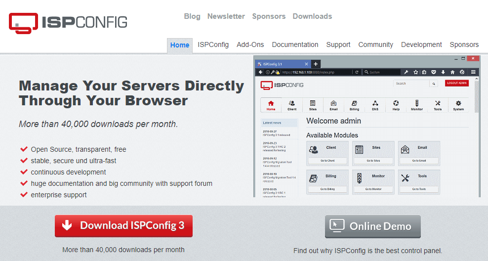 The ISPConfig web hosting control panel.