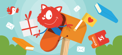 Topple the Cat popping out of a mailbox with letters flying out along with tickets and books while a little orange-white bird flies to the left